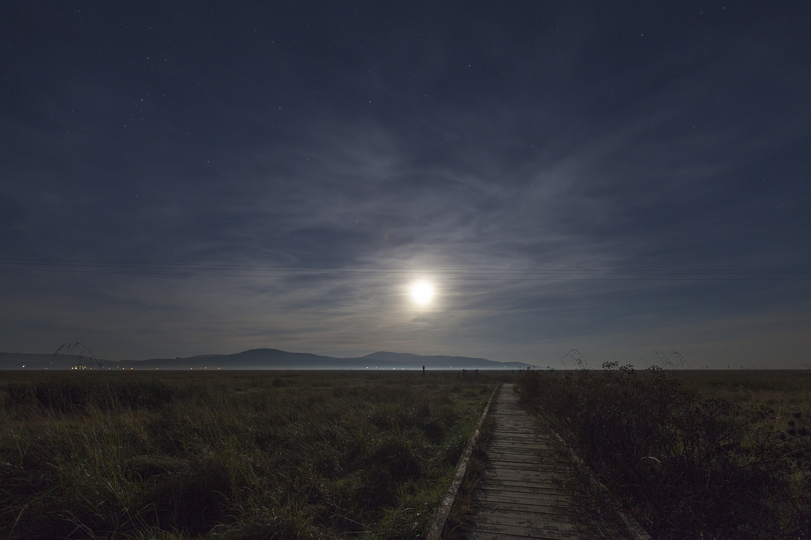 Salt marshes after dark, Wigtown