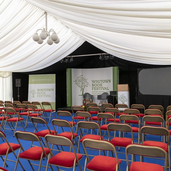 An empty marquee waiting for the audience to arrive, Wigtown Book Festival